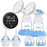 Elektrische Milchpumpe, Eccomum Doppel Milchpumpe Stillpumpe mit 4 Modi und 9...